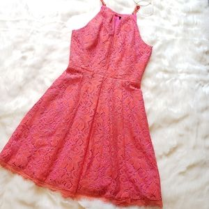 Coral and pink lace Adelyn rae dress S